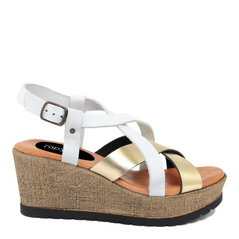 LAB78 White & Gold Leather Crossed Strap Wedge Sandal