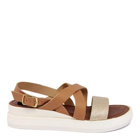 LAB78 Tan Leather Wedge Glittery Sandal