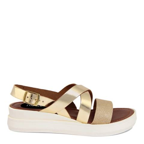 LAB78 Gold Leather Wedge Glittery Sandal