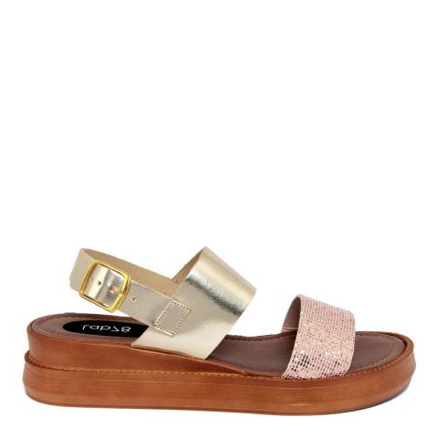 LAB78 Gold Leather Double Strap Sandal