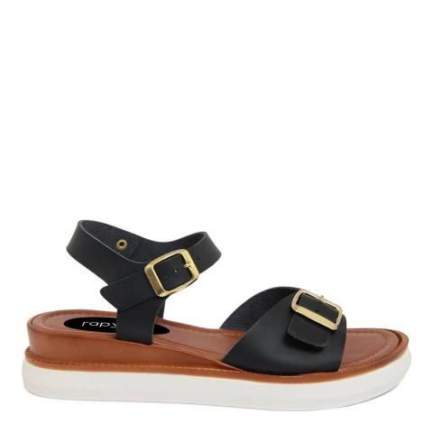 LAB78 Black Leather Buckle Strap Sandal