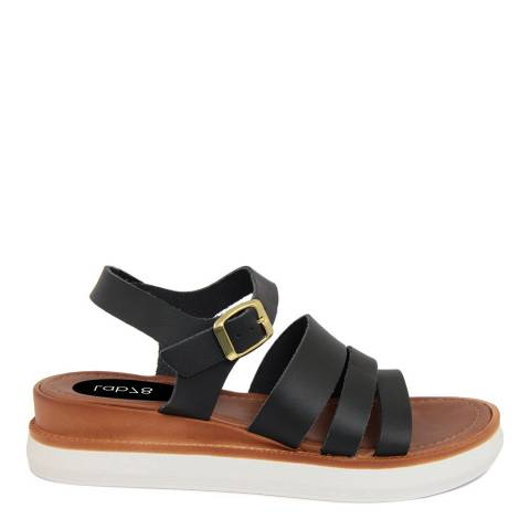 LAB78 Black Leather Wedge Triple Strap Sandal