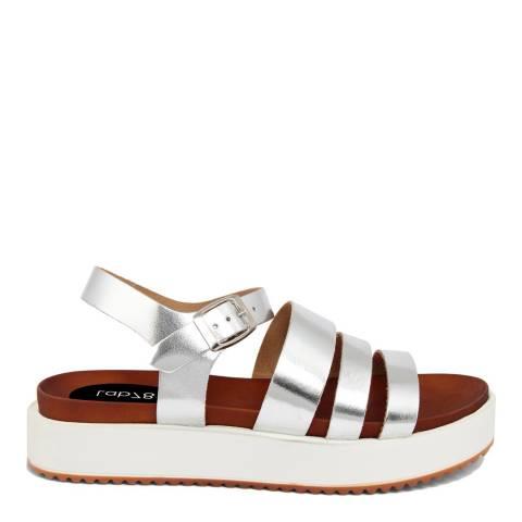LAB78 Silver Leather Triple Strap Sandal
