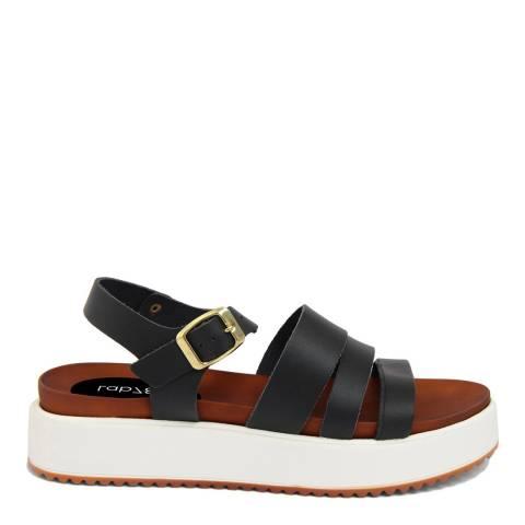 LAB78 Black Leather Triple Strap Sandal