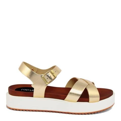 LAB78 Gold Leather Flatform Sandal