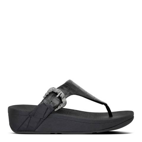 FitFlop All Black Lottie Croco Toe Post Sandals