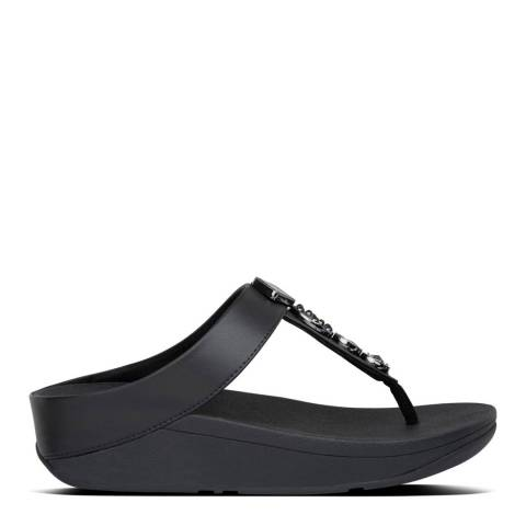 FitFlop Black Fino Circle Toe Post Sandals