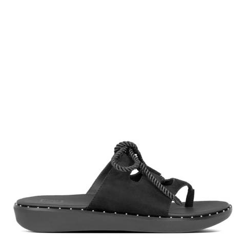 FitFlop All Black Felicity Lace-Up Suede Toe Post Sandals