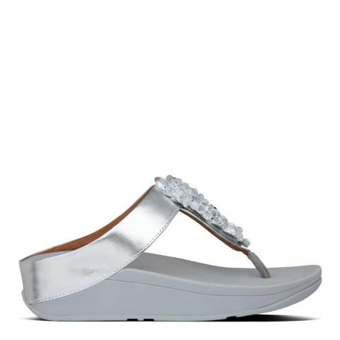 FitFlop Silver Fino Sequin Toe Post Sandals
