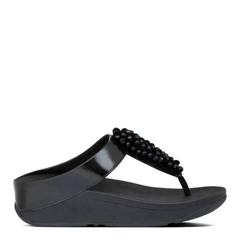 FitFlop All Black Fino Sequin Toe Post Sandals
