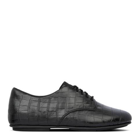FitFlop All Black Adeola Croco Lace-Up Derby's Lace Up