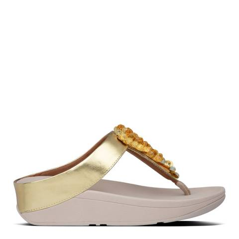 FitFlop Vintage Gold Fino Sequin Toe Post Sandals