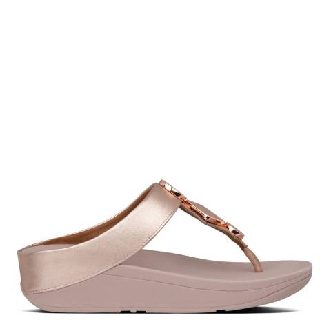 FitFlop Rose Gold Leia Leather Toe Post Sandals
