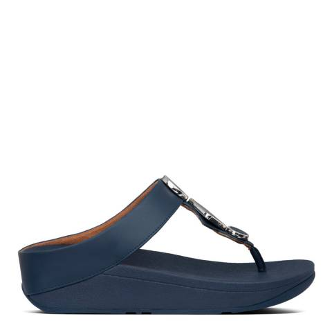 FitFlop Midnight Navy Leia Leather Toe Post Sandals