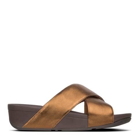FitFlop Bronze Lulu Cross Leather Slides