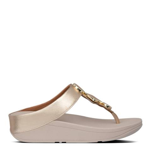 FitFlop Vintage Gold Leia Leather Toe Post Sandals