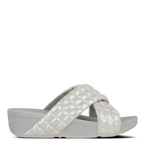 FitFlop Silver Lulu Padded Shimmy Suede Slides