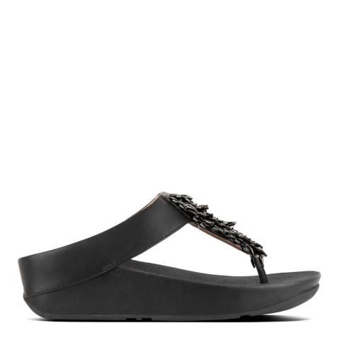 FitFlop Black Rumba Toe-Thong Sandals