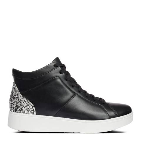 FitFlop Black Mix Rally Glitter High-Top Sneakers