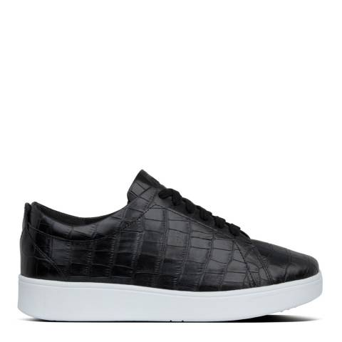 FitFlop Black Rally Croc Print Sneakers