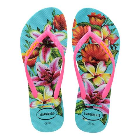 Havaianas Blue Slim Floral Flip Flops