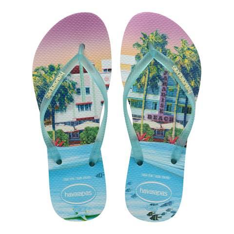 Havaianas White/Light Green Slim Paisage Flip Flops
