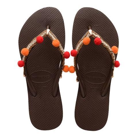 Havaianas Dark Brown Slim Boho Flip Flops