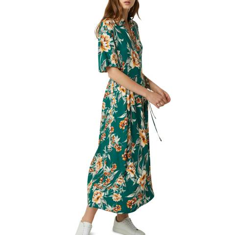 French Connection Green Multi Floral Shirt Dress