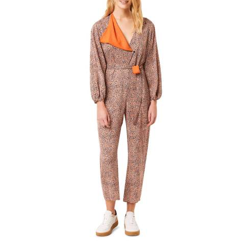 French Connection Orange Mix Printed Jumpsuit