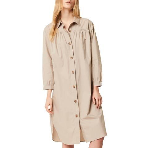 French Connection Beige Poplin Belted Shirt Dress