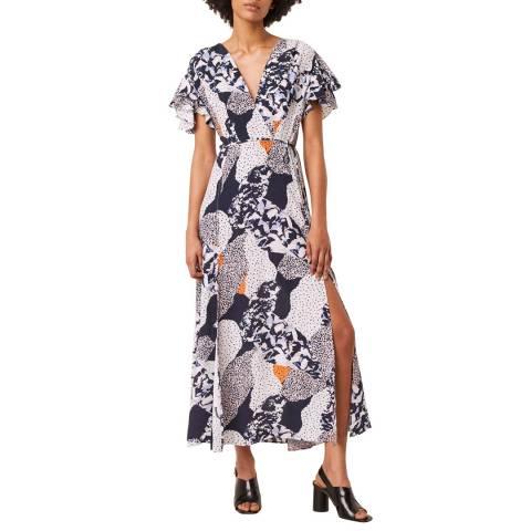 French Connection Blue Multi Drape V Neck Dress