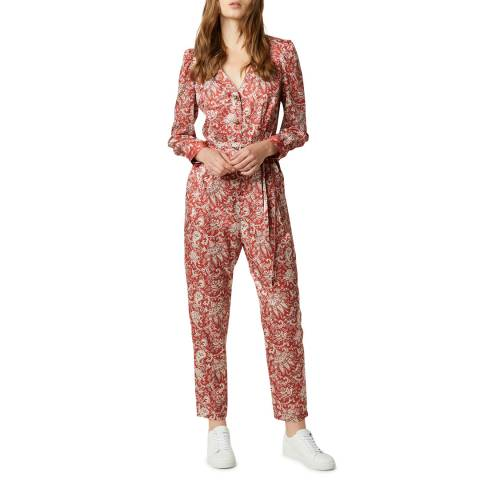 French Connection Red Paisley Jumpsuit
