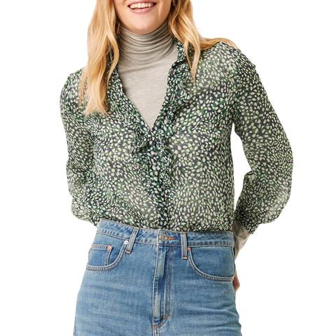 French Connection Green Crinkle Ruffle Neck Blouse