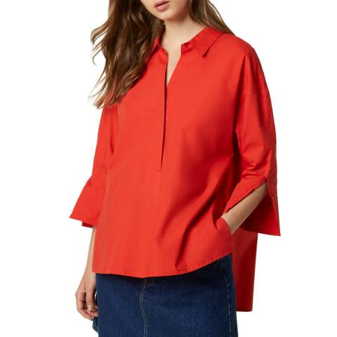 French Connection Red Rhodes Poplin Popover Shirt