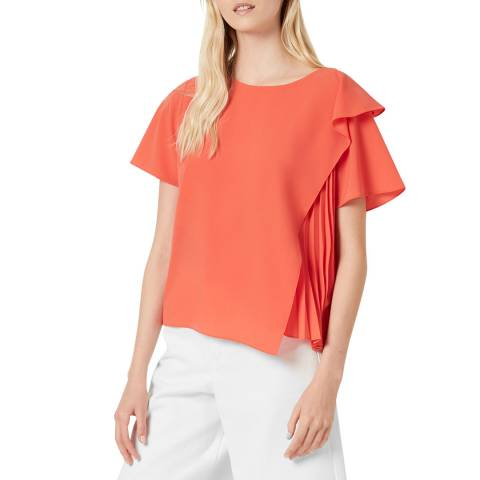 French Connection Red Light Pleated Top