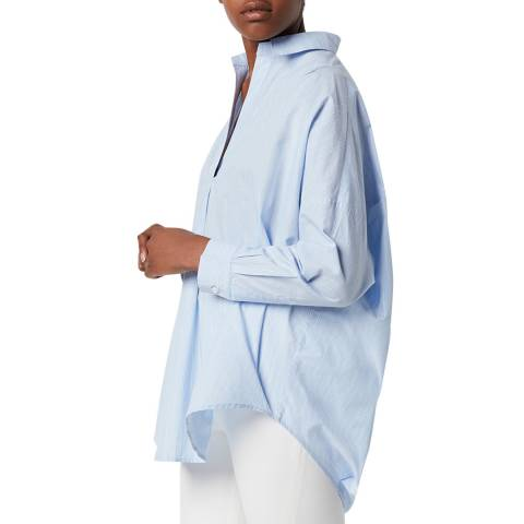 French Connection Blue Striped Rhodes Popover Shirt