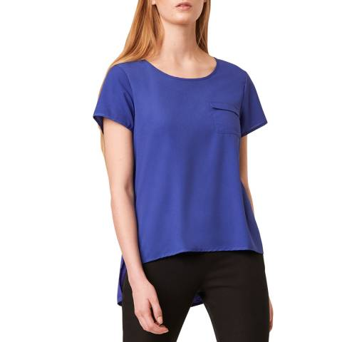 French Connection Blue Light Round Neck Top