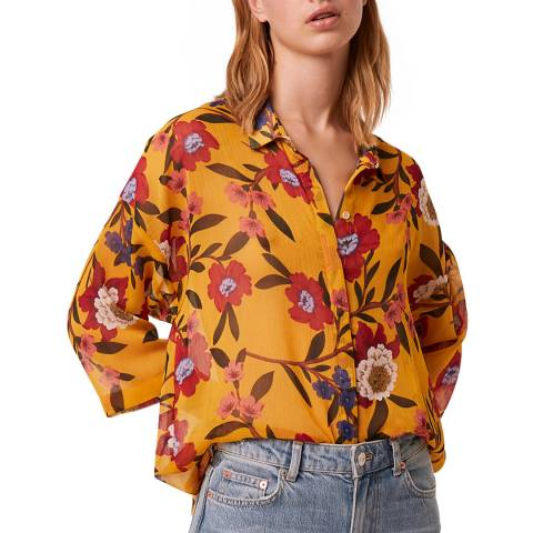 French Connection Mustard Crinkle Floral Shirt