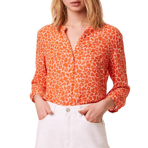 French Connection Orange Kiss Print Collarless Shirt