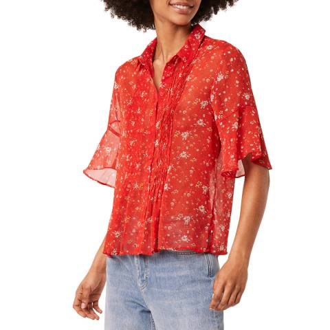 French Connection Red Multi Crinkle Pintuck Shirt