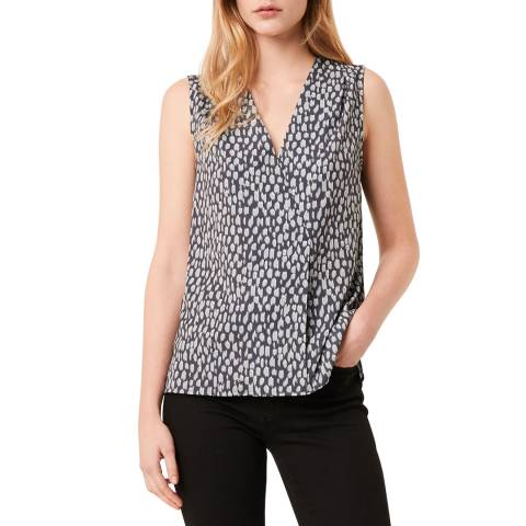 French Connection Navy/ White Printed Sleeveless Top