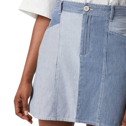 French Connection Blue Denim Stripe Mini Skirt