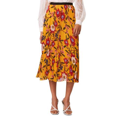 French Connection Mustard Floral Crinkle Midi Skirt