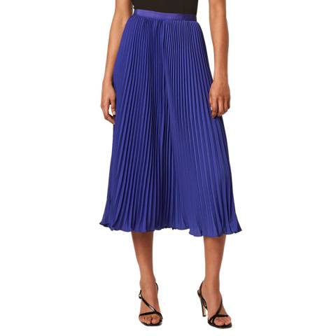 French Connection Blue Crepe Light Pleated Mini Skirt