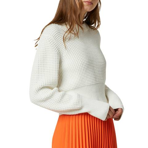 French Connection White Waffle Jumper
