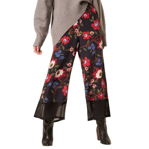 French Connection Blue Multi Drape Printed Culottes