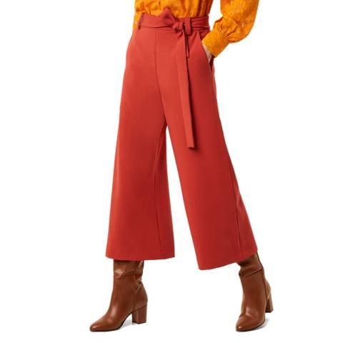 French Connection Red Cropped Flare Trousers