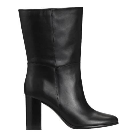 MAJE Black Foxy Fold Leather Ankle Boots