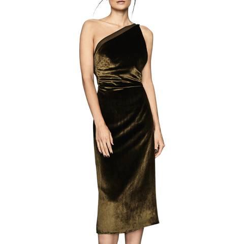 Reiss Khaki Eden Velvet Dress
