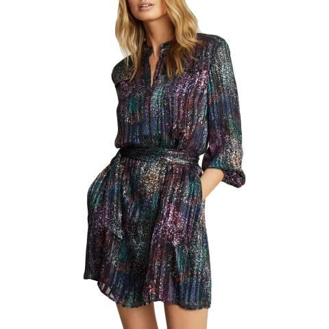 Reiss Black Print Isla Lurex Dress